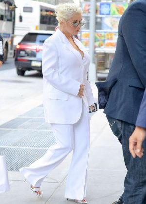 Christina Aguilera in White Suit - Out in New York City