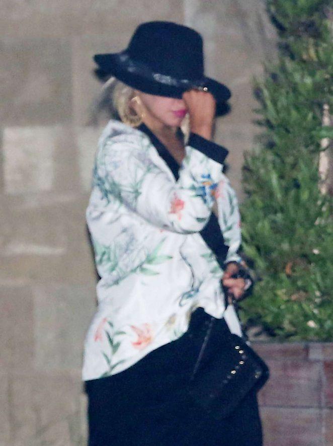 Christina Aguilera with a girlfriend at Soho House in Malibu