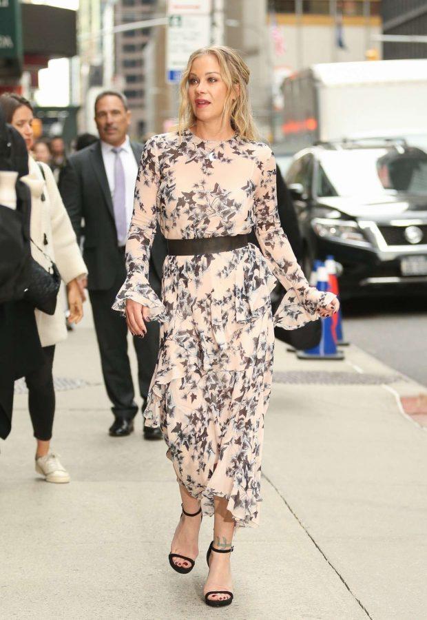 Christina Applegate in Floral Print Dress -01
