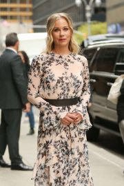 Christina Applegate in Floral Print Dress - Heads at The Late Show with Stephen Colbert in NY