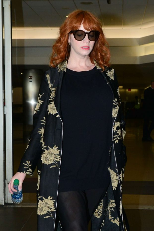 Christina Hendricks - Arrives at LAX Airport in Los Angeles