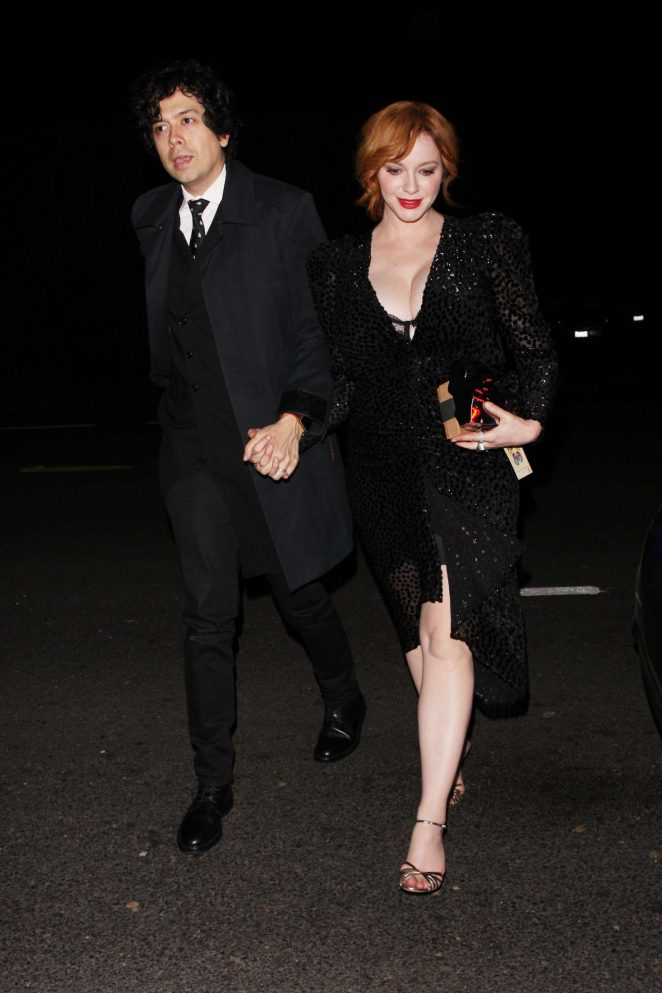 Christina Hendricks – Arriving at Jennifer Klein's holiday party in Los Angeles