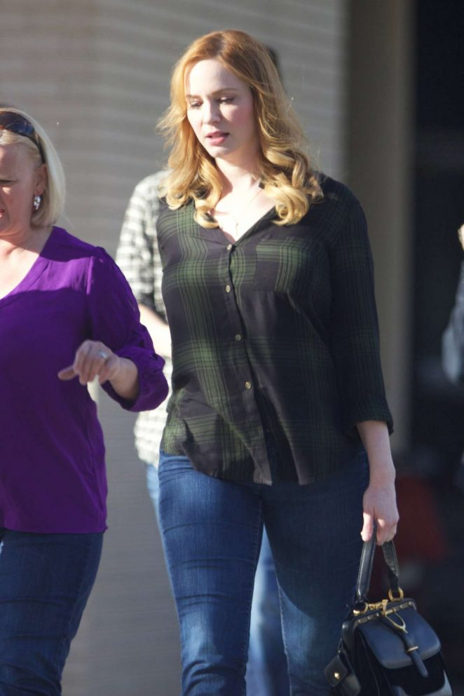 Christina Hendricks in Jeans out in Atlanta