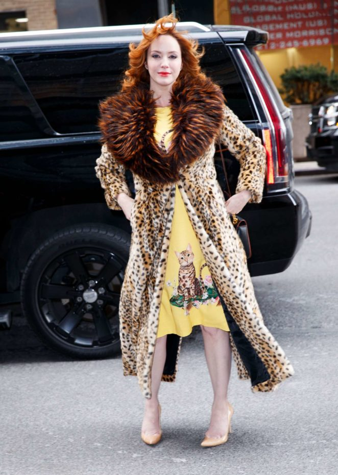 Christina Hendricks in Leopard Print Coat - Out in New York