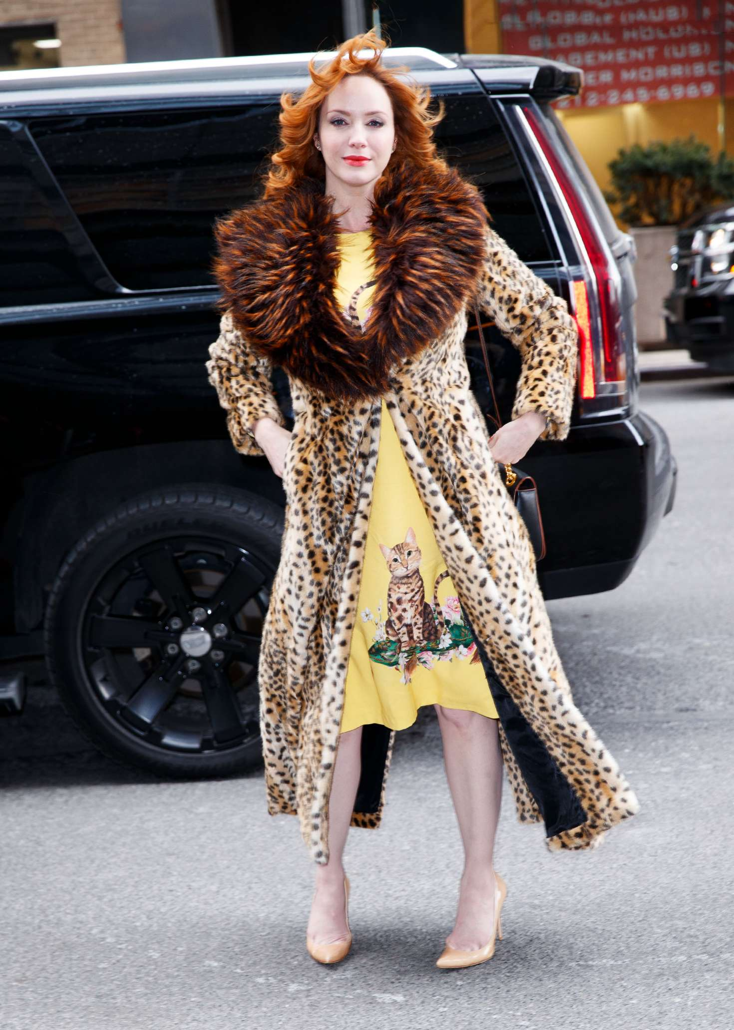 Christina Hendricks In Leopard Print Coat Out In New