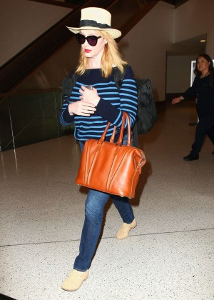 Christina Hendricks in Jeans at LAX -02