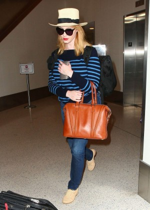 Christina Hendricks in Jeans at LAX -04