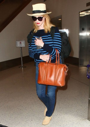 Christina Hendricks in Jeans at LAX -05