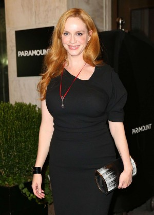 Christina Hendricks in Tight Dress Nightout in NY