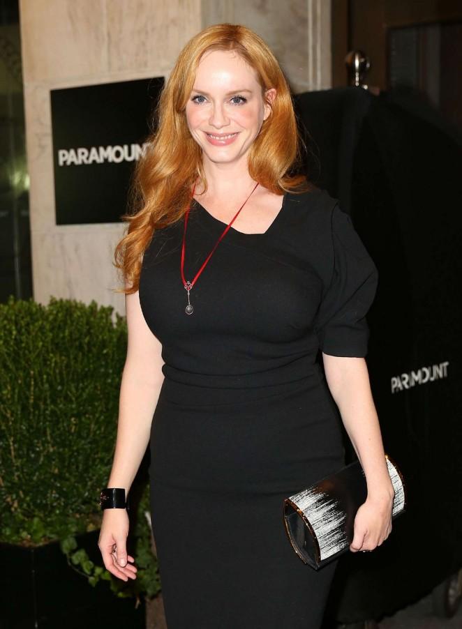 Christina Hendricks in Tight Dress Nightout in NY
