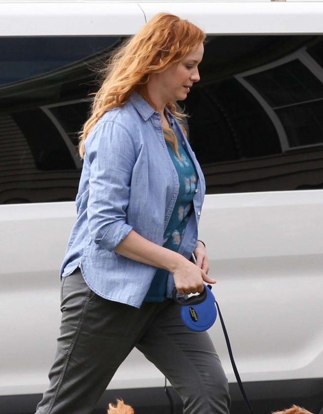 Christina Hendricks on the set of 'The Burning Woman' in Brockton