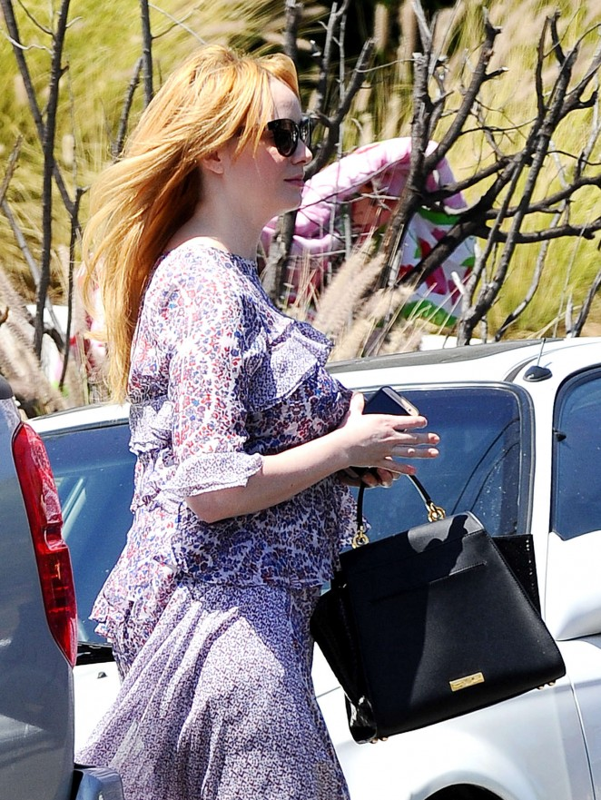 Christina Hendricks in Purple Dress Out in LA
