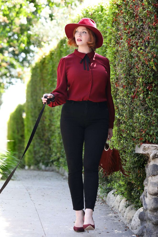 Christina Hendricks with her dog out in Los Angeles
