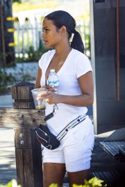 Christina Milian - All in white at her Beignet Box mobile unit in Studio City