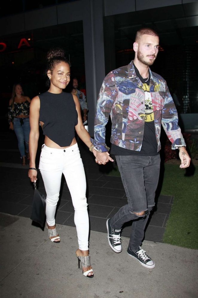 Christina Milian and Matt Pokora at Boa Steakhouse in Los Angeles