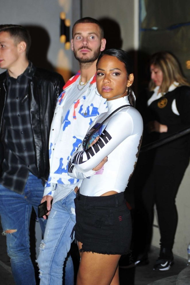 Christina Milian and singer Matt Pokora - Leaving Catch LA in West Hollywood
