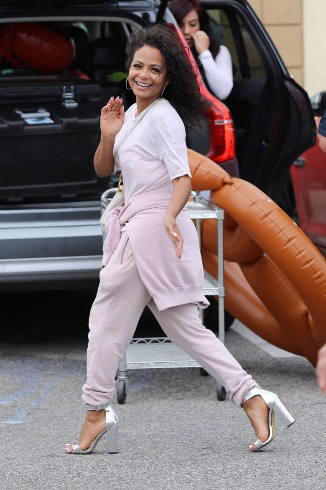 Christina Milian at a birthday party in Van Nuys