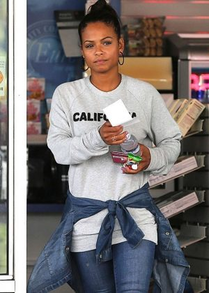 Christina Milian at a gas station in Beverly Hills