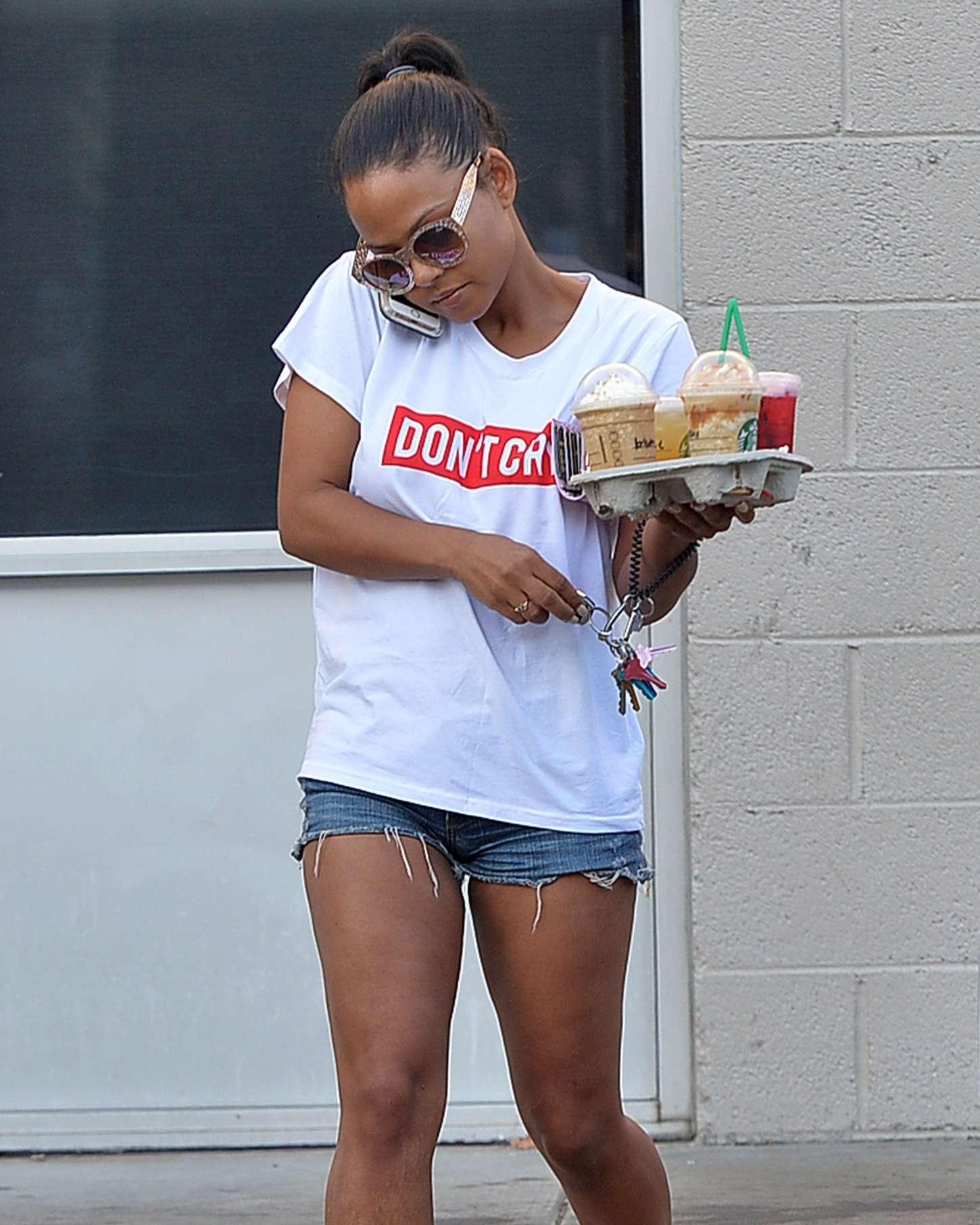 Christina Milian in Shorts at a Starbucks in LA