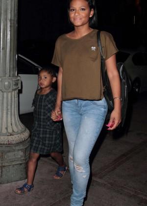 Christina Milian in Jeans at Beso Restaurant in LA