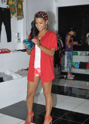Christina Milian in Shorts at her We Are Culture pop-up shop in LA