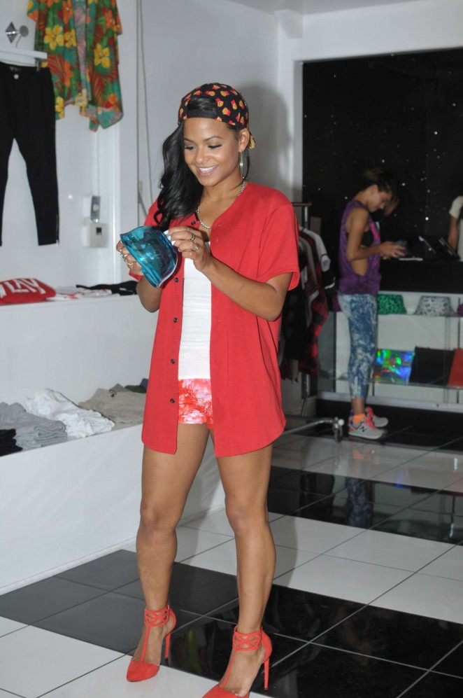 Christina Milian at her We Are Culture pop-up shop in Los Angeles