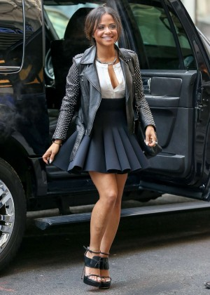 Christina Milian in Mini Skirt at NBC Studios in New York