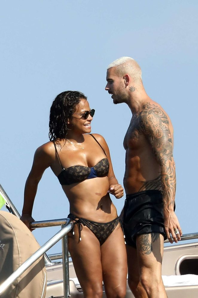 Christina Milian - Bikini Candids on a yacht in St Tropez