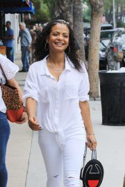 Christina Milian in all white out in Studio City