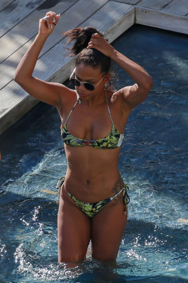 Christina Milian in Bikini at a pool in Hawaii