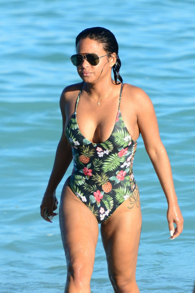 Christina Milian in bikini at Miami Beach