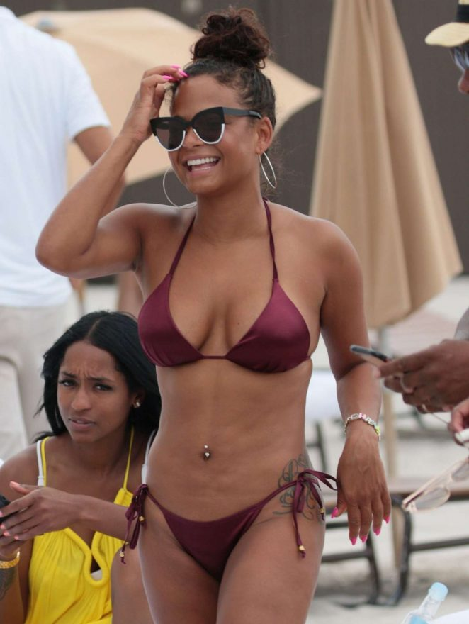 Christina Milian in Bikini at the Beach in Miami