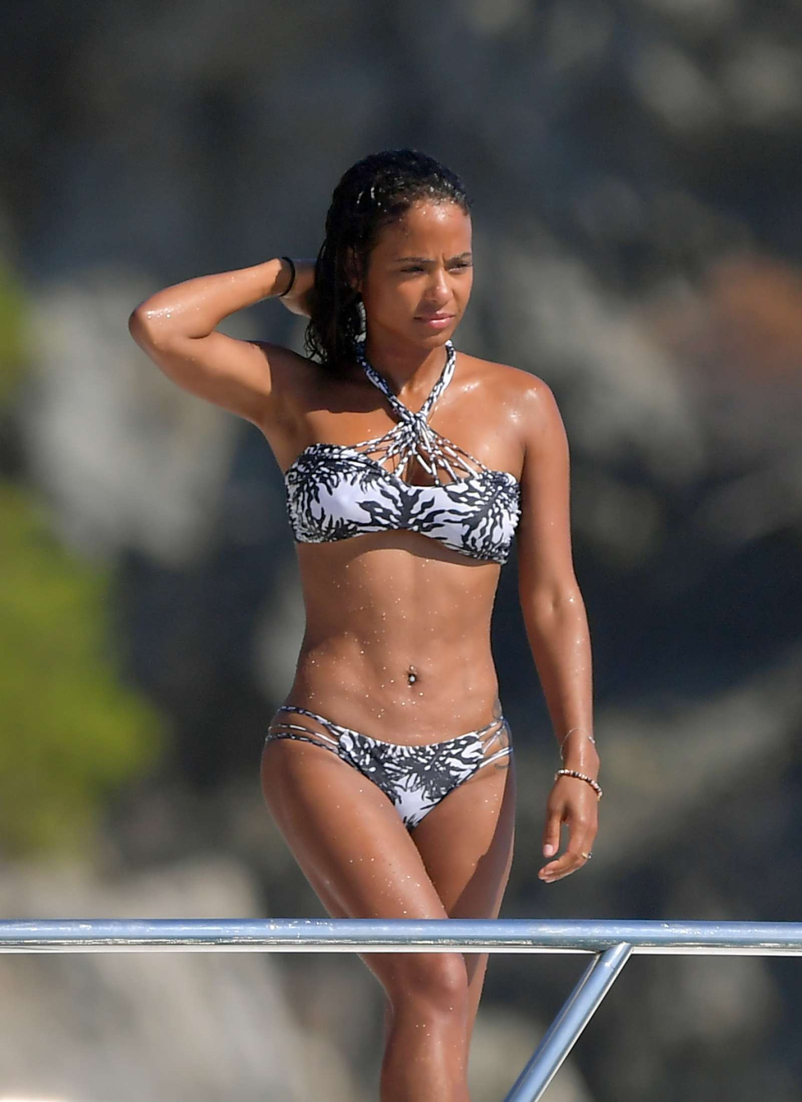 Christina Milian in Bikini on a boat in St. Tropez