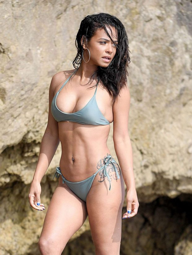 Christina Milian in Bikini on a photoshoot in Malibu