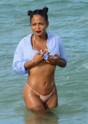 Christina Milian - In Bikini On The Beach in Miami