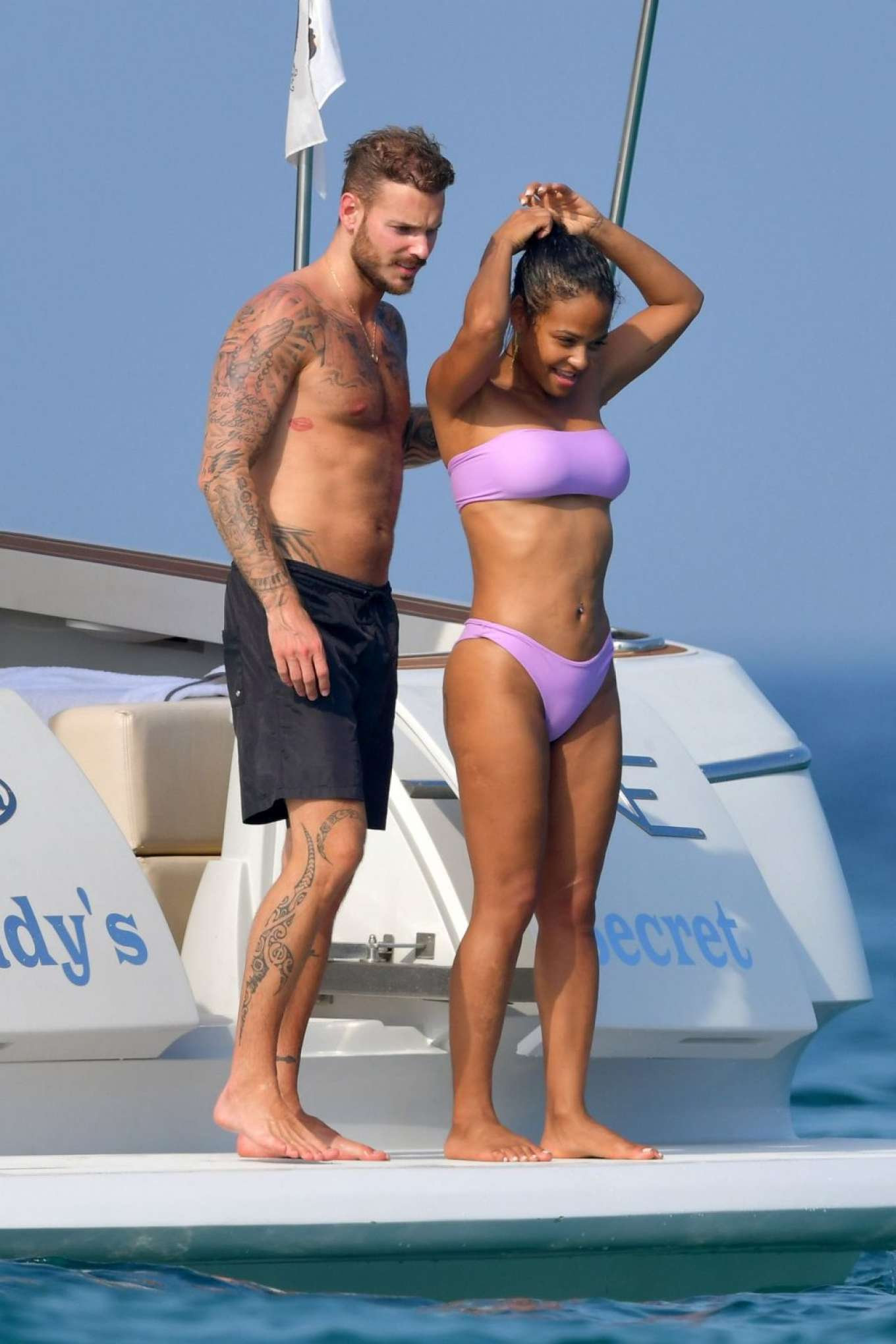 Christina Milian in Bikini with boyfriend Matt Pokora on the Lady's Secret boat in France