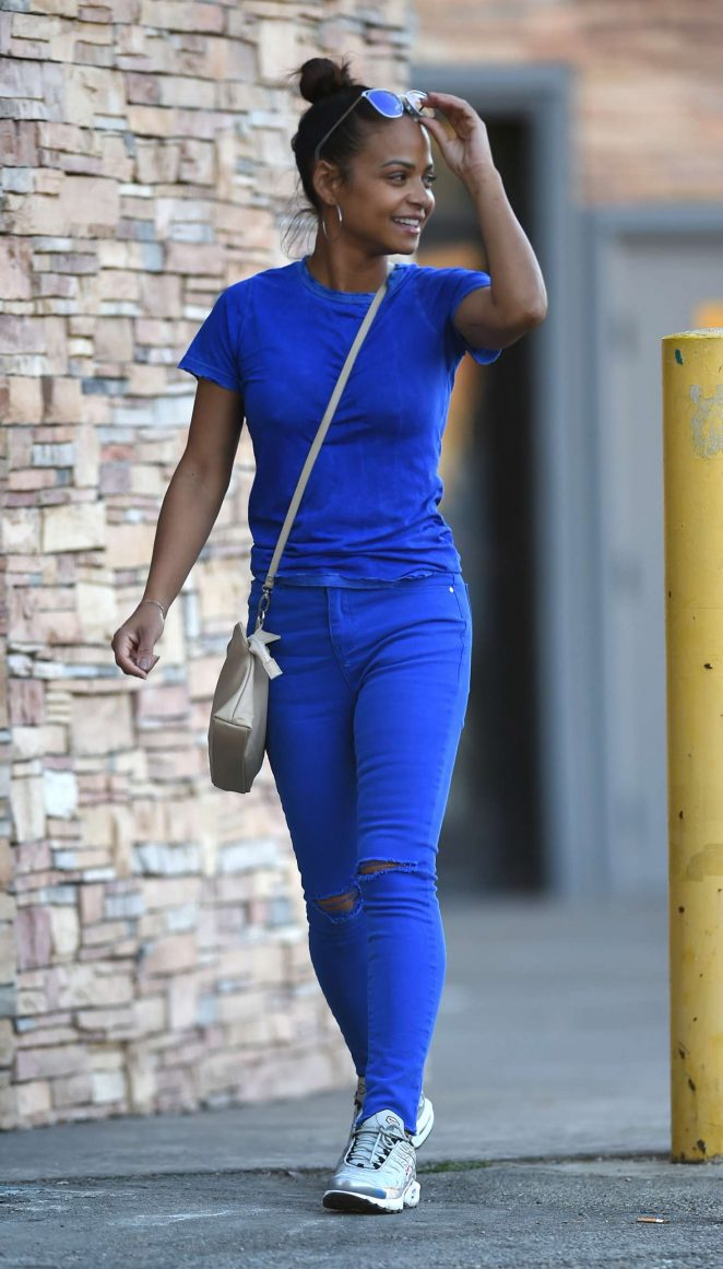 Christina Milian in Blue Outfit - Out in Los Angeles