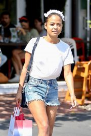 Christina Milian in Denim Shorts - Shops at Fred Segal in West Hollywood