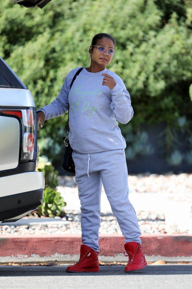 Christina Milian - In gray track suit running errands in Studio City