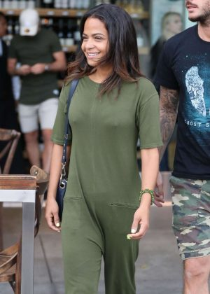 Christina Milian in Green Jumpsuit - Out in Los Angeles