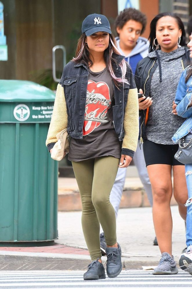 Christina Milian in Green Tights Out in New York