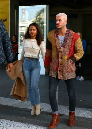 Christina Milian in Jeans - Arriving in Nice