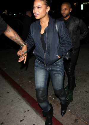 Christina Milian in Jeans at The Nice Guy Club in West Hollywood