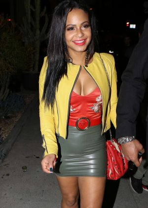 Christina Milian in Latex Mini Skirt at Bootsy Bellows in West Hollywood