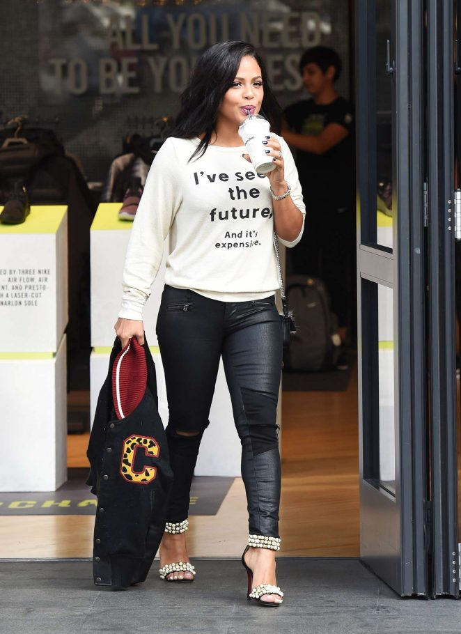 Christina Milian in Leather shopping in Los Angeles