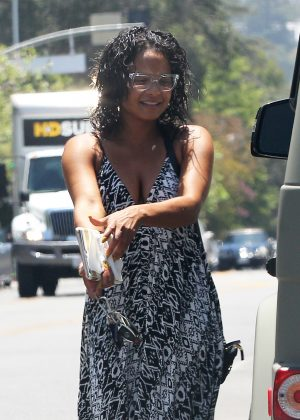 Christina Milian in Long Dress in Los Angeles