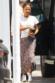 Christina Milian in Long Skirt - Out in Studio City