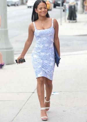 christina milian in mini dress out in la
