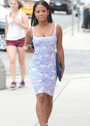 Christina Milian in Mini Dress Out in LA