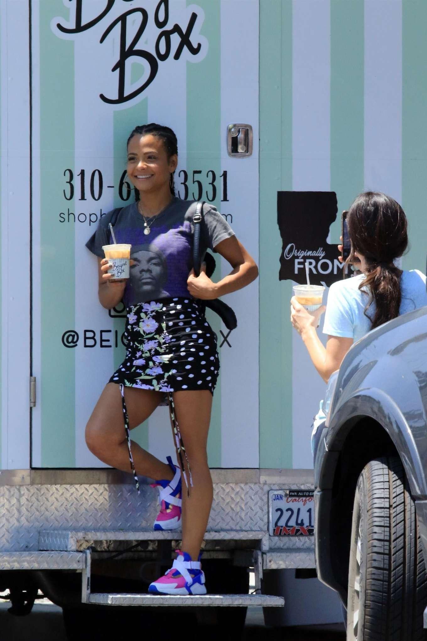 Christina Milian 2019 : Christina Milian: In mini skirt at her Beignet Box mobile unit in Studio City-18
